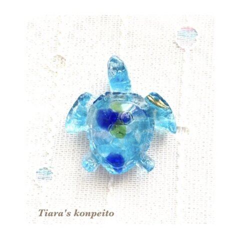 癒し/琉球ガラスの沖縄の海ホヌ オルゴナイト