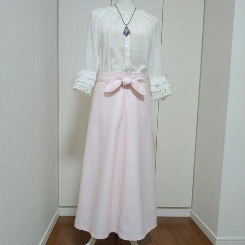 💠さくら色のセミフレアスカート 共布ベルト付き💠