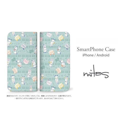 クスグルジャパン (ネコまるけ×ドット 1) ベルトなし 手帳型 全機種対応 送料無料 スマホケース iPhone Xperia AQUOS Galaxy  [mset-39343351]
