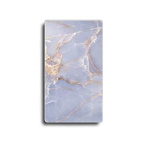 モバイルバッテリー【強化ガラス】ラベンダーマーブルストーン柄
