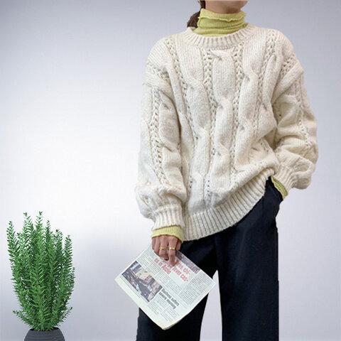 ホワイト 長袖 セーター ニット トップス レディース 冬 ロング ケーブル編み おしゃれ 通勤 ゆったり 上品 ナチュラル 体型カバー きれいめ