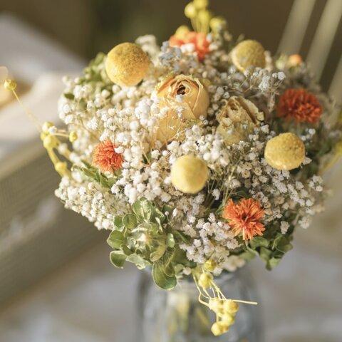 華やかなドライフラワースワッグ 25cm 黄色 カスミソウ バラ