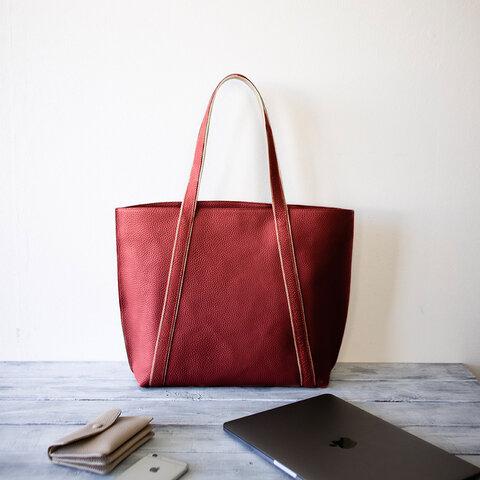 本革トートバッグ A4ファイル ノートパソコン収納 大人カジュアルの通勤バッグ 【レッド】
