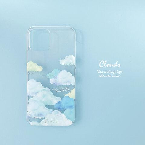 もくもく雲と青空のクリアスマホケース【Android】
