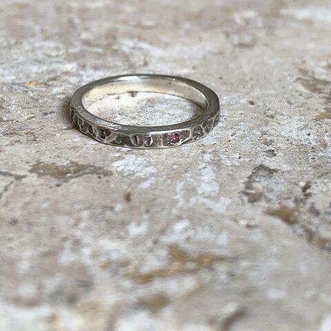 【 silver石有り】vintage half stonealphabet ring