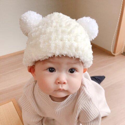 大人気🐻ˎˊ˗モコモコあったかクマみみニット帽🧸 くま耳帽子 ベビーニット帽