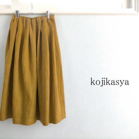 【受注製作】秋冬リネン。リネンウールのあったかスカート マスタード