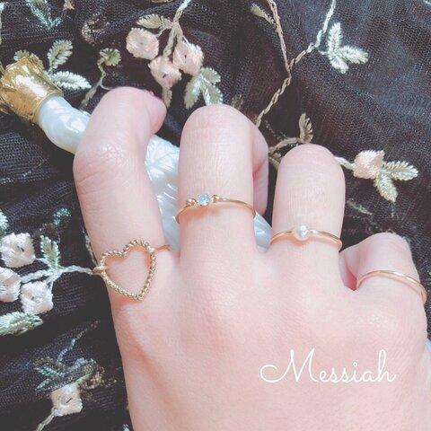 【Messiah1番人気】ハートとコットンパールの4連リング♡
