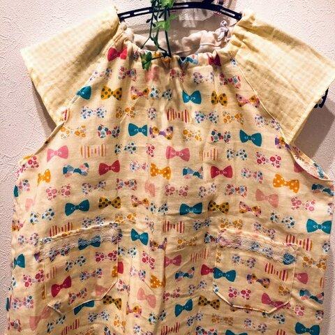 幼稚園☆Wガーゼ★スモッグ☆半袖☆90~110cm位☆リボン柄x黄色チェックのお袖♡