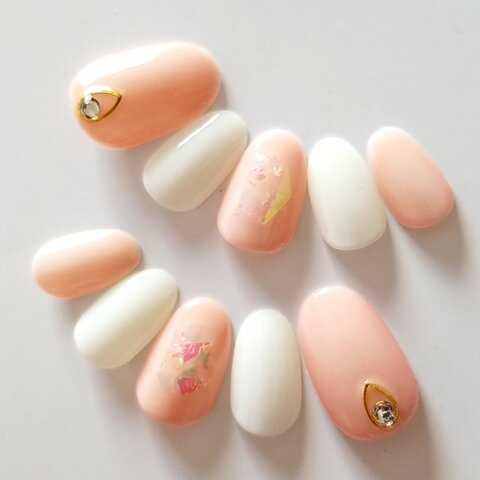 Sheer Color Film Nail Beige×White