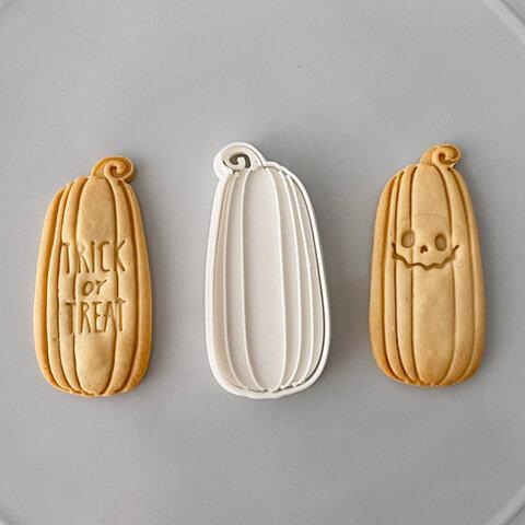 【ハロウィン】ロングかぼちゃ クッキー型(線スタンプ付き)