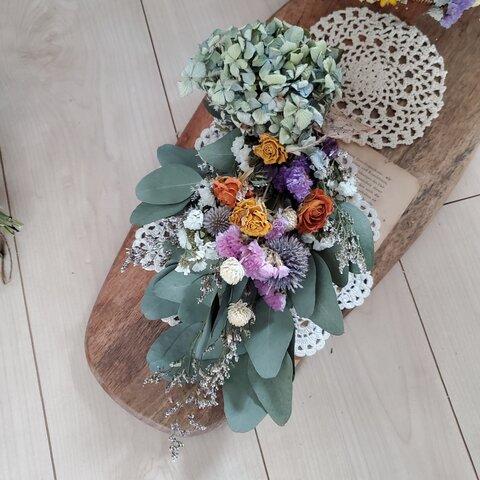 ボリューム紫陽花と小花のドライフラワースワッグ 花束 ブーケ 誕生日 お祝い 記念日 ギフト ウェルカムスペース ウェディング