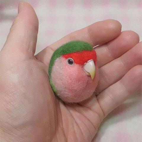 コザクラインコ  ノ-マルグリ-ン ☆選べる2タイプ☆(Aマグネット・Bクリップ付ブローチピン) コロコロ♪丸顔  羊毛の小鳥