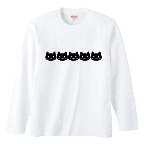 ねこガーランド長袖Tシャツ Tシャツカラー全3色×プリントカラーがお選び頂けます! 綿Tシャツ 男女兼用サイズ