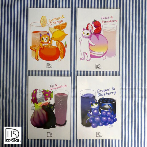 猫とフルーツのポスターカード4種セット