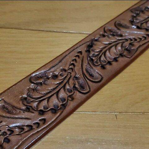 手彫り 本革 レザー ベルト用 帯 約140cm 約40mm幅 レザークラフト