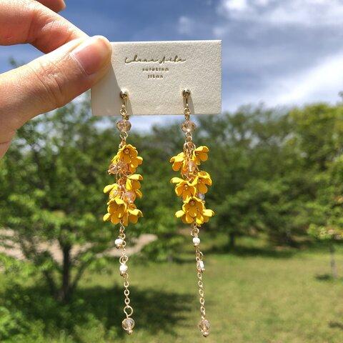 【yellow】flower charm × chain pierce / earring