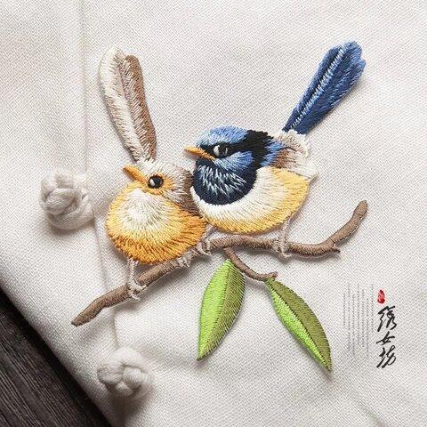 【1枚】寄り添う可愛い鳥たちのワッペン⑤ 刺繍 アップリケ