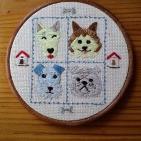 4匹の犬/刺繍飾り フレーム付き