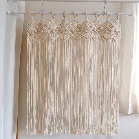 """マクラメ カフェカーテン  """"herring bone cafe curtain long size"""" のれん カーテン 目隠しカーテン 紐カーテン"""