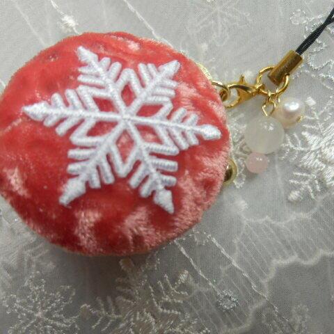 雪の結晶マカロンケースピンク 小型(天然石の飾りつき)