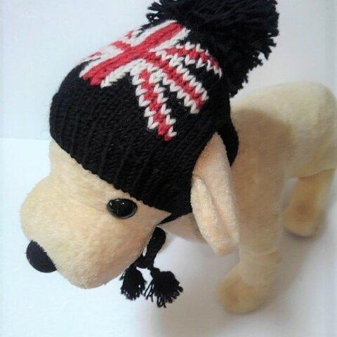 黒にイギリス国旗柄のワンちゃんの帽子(CAP-34)
