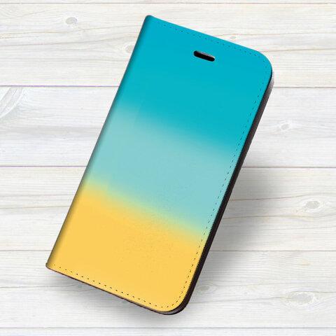 iPhone 専用 フラップ無し手帳型ケース ★青の空