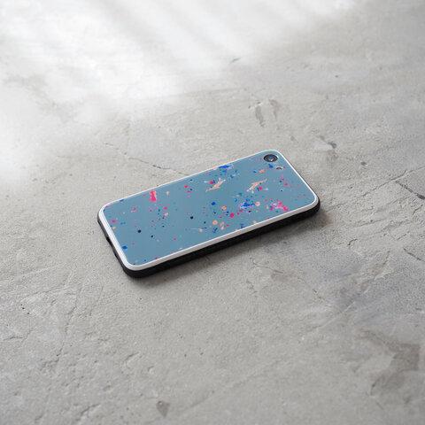 ガラス スプラッシュ スマホケース Blue grey