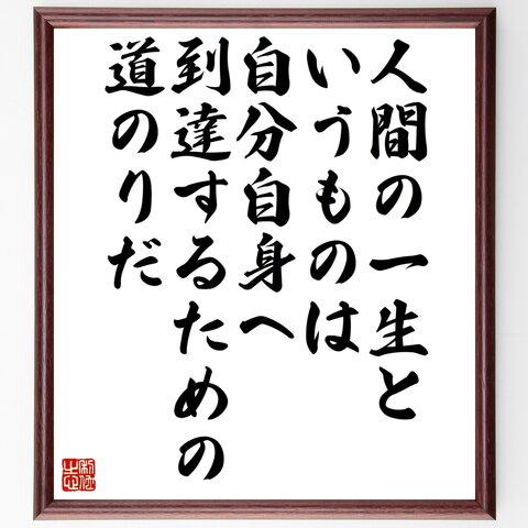 名言書道色紙「人間の一生というものは、自分自身へ到達するための道のりだ」額付き/受注後直筆(Z9939)