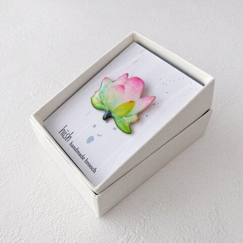 蓮の花ブローチ(グリーン系/ボックス入)