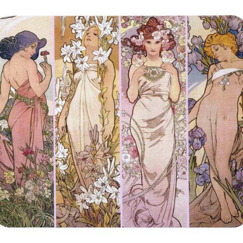 アルフォンス・ミュシャ『 四つの花 』のマウスパッド:フォトパッド(世界の名画シリーズ)