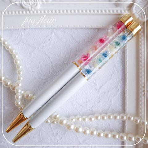 ハーバリウムボールペン*ホワイト*スターフラワー*名入れ無料