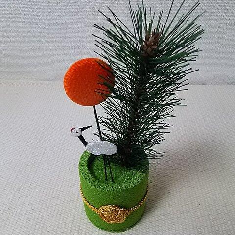ちりめん細工  松と鶴の飾り  置き物