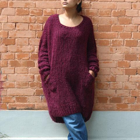 ◉秋の新色◉ 手編みモヘアロングセーター ダークパープル