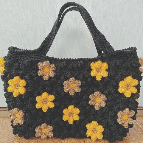【受注製作】お花モチーフの手編みスクエアバッグ   Lサイズ