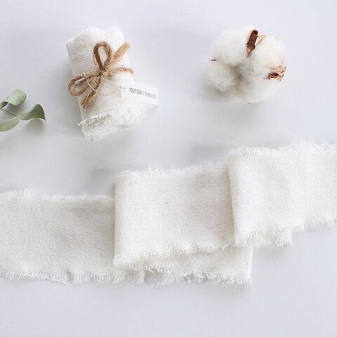 リネン風リボン 結婚式 ブーケ* ホワイト 幅約5cm 長さ約1m〜