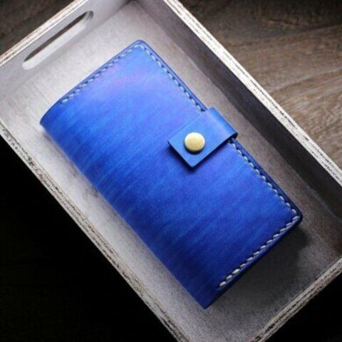 iPhone12mini用 海のようなスマホケース【カラー8種】ヌメ革 レザー