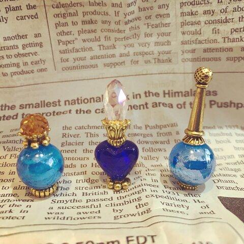 ミニチュア香水瓶風ランプワークビーズ(ブルー)