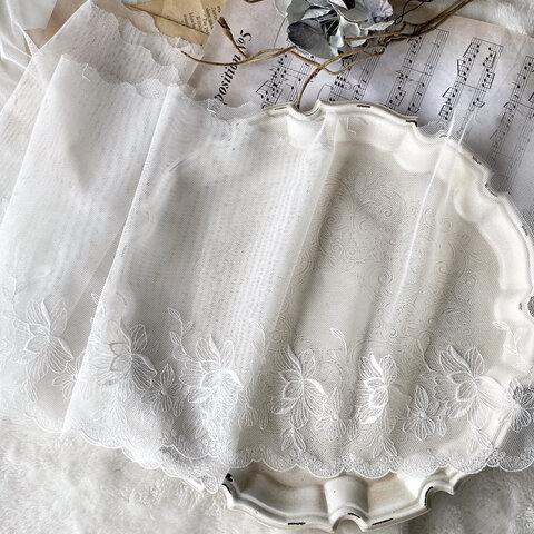 1m 広幅 美しい 花 フラワー 刺繍 チュールレース 白 BK210522 ハンドメイド 手芸 素材 材料