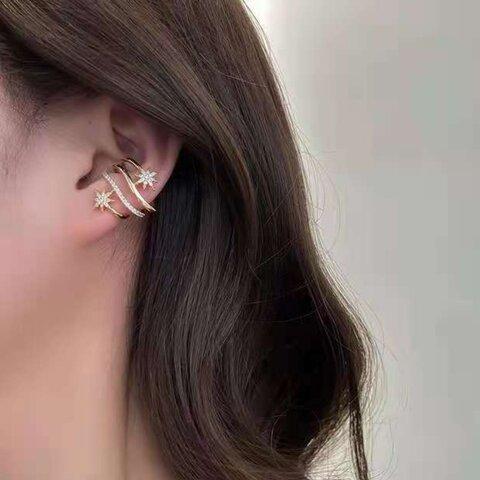 4連風星ビジューイヤーカフ ゴールドイヤーカフ 片耳用 大ぶり 結婚式 ブライダル