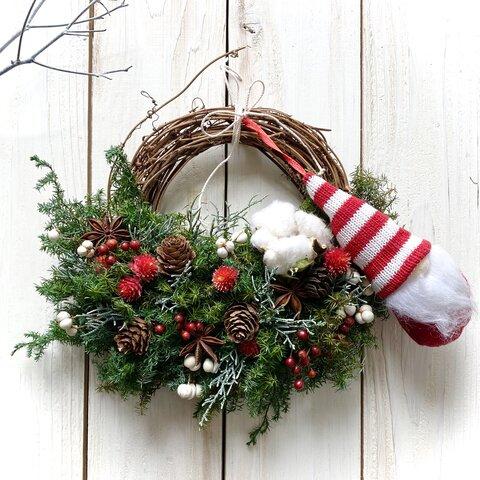 かわいいサンタさん☆プリザーブドハーフ(アレンジ幅24~25センチ)クリスマスリース