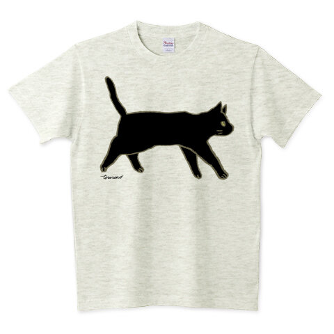 黒猫シンプルTシャツ