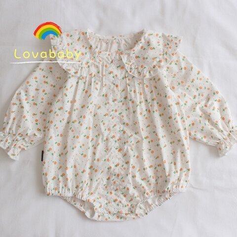 【66㎝‐100㎝】 コットン100% ロンパース/女の赤ちゃん幼児長袖ワンピース フローラル