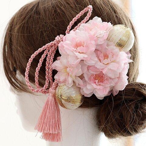 【成人式髪飾り】桜とボールの髪飾り☆ヘッドパーツ☆ヘッドドレス☆髪飾り☆