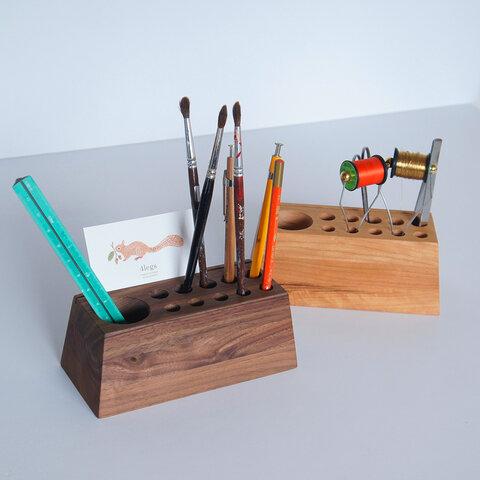 Pen+Tool Stand カード立て付きペンスタンド チェリー(or ウォルナット)受注製作品