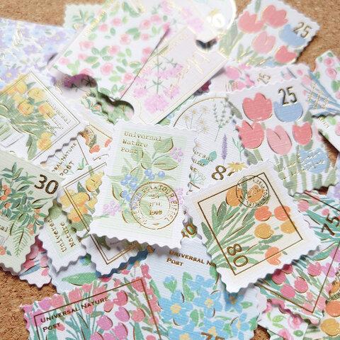 切手風  フレークシール  花柄  植物【S1017】