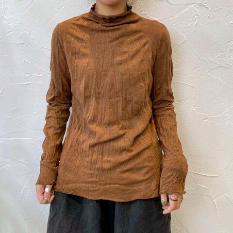 New【秋 冬】ブラウン コットン 長袖Tシャツ、無地のベースシャツ