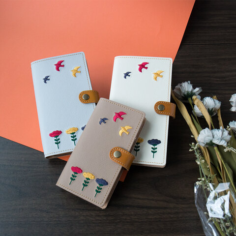 スマホケース 全機種対応 手帳 【 刺繍 北欧風 花と鳥 】本革 レザー 北欧 花 鳥 クリスマス A111I