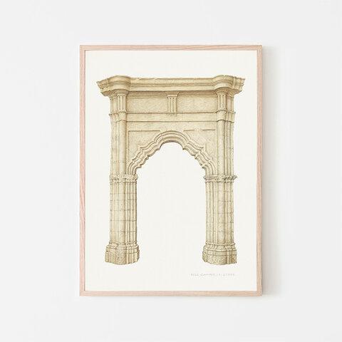 アーチ / アートポスター イラスト ベージュ系 水彩画 色鉛筆 シンプル 2L〜 建築物 アーキテクチャー