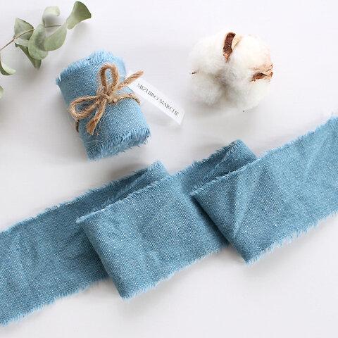 リネン風リボン 結婚式 ブーケ* ブルー 幅約5cm 長さ約1m〜